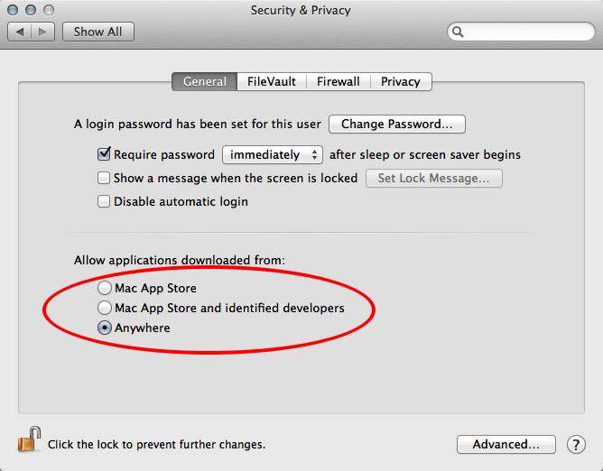 Apple security preference pane